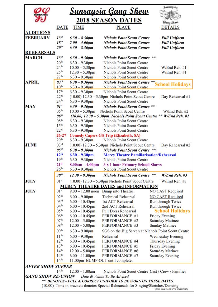 SGS Dates 2018